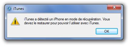itunes a detecté un iphone en mode de recupération. Vous devez le restaurer pour pouvoir